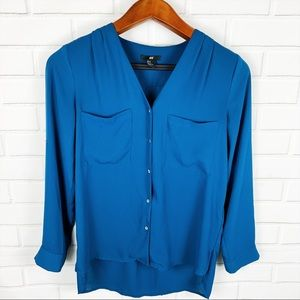 H&M Women's Teal Blue Button Down V-Neck Shirt M